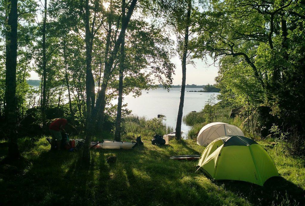 Camping am Ufer des Åsnen